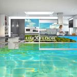 3d boden LUXXFLOOR, baderzimmer, delfin, epoxidharz, meer, innovative technologie, pvc, bodenbelag, tapete, schlafzimmer, aufkleber, wohnzimmer, küche, tapete 3d, bodenfliesen, flur, bar, 3d bild, wasserwelt, blumen, löcher, strand, wand, wohnen, ideen
